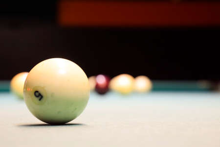 Billiards, billiard table. Balls on the billiard table