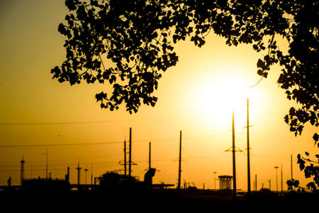power: Industrial plant in the background of sunset and poplar branches. Yellow sunset Stock Photo