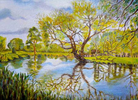 風景は自然です。川と岸辺の木