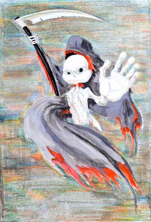guadaña: The thin bars the superhero in death with a scythe.