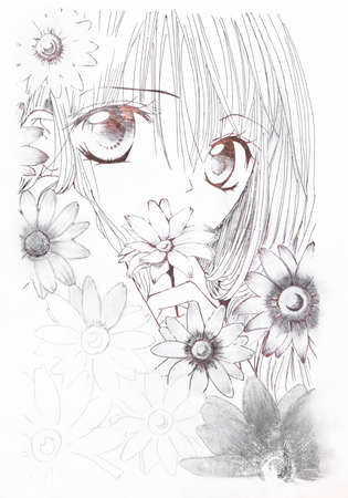 Drawing in the style of anime. Picture of a girl in the flowers in the picture in the style of Japanese anime.