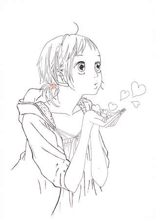 Drawing in the style of anime. Picture of a girl in the picture in the style of Japanese anime