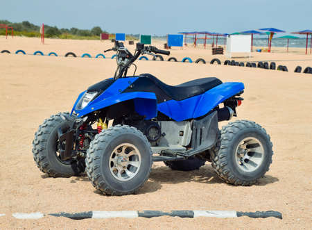 Small ATV rentals. Rental services on the beach by the sea.