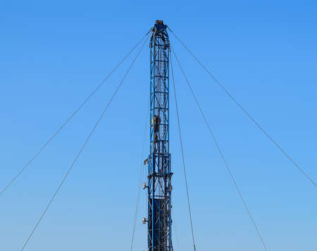 Carrying out repair of an oil well. Equipment of oil fields. Stock Photo