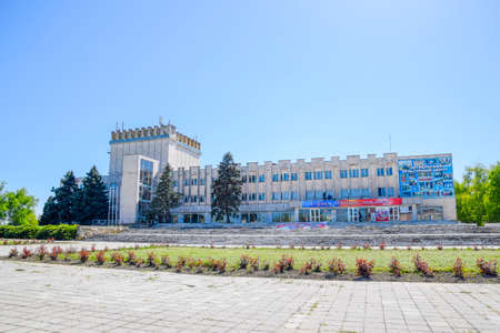 Octyabrsky, Russia - April 24, 2017: House of Culture near the central square. The legacy of Maistrenko. Construction of the Soviet era. Krasnodar Krai, Krasnoarmeisky District. Editorial