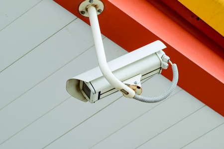 Camcorder on the ceiling. Video surveillance of what is happening from the outdoor video camera. Security cameras.