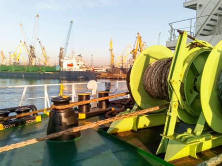 Babina with a sea mooring rope. Mooring on the ship. Stock Photo