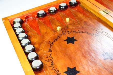 Backgammon. Board game with dice. Backgammon handmade Stock Photo
