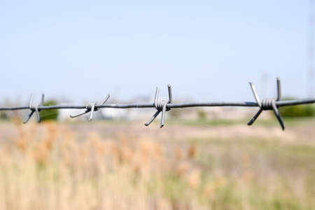 Barbed wire. Barbed wire fencing. The constraint symbol