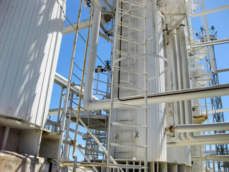 Rectification columns of the oil refinery. Refinery equipment. Oil refinery. Equipment for primary oil refining.