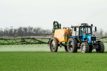 Tractor with high wheels is making fertilizer on young wheat. The use of finely dispersed spray chemicals. Tractor with a spray device for finely dispersed fertilizer. Reklamní fotografie