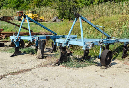 Plow on trailer for tractor. Plow for plowing soil. Trailer Hitch for tractors and combines. Trailers for agricultural machinery.