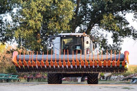 Poltavskaya village, Russia - September 6 2017: Machine for Harvesting Sunflower