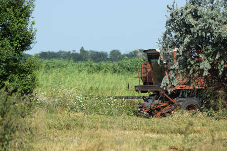 Old rusty combine harvester. Combine harvesters Agricultural machinery. The machine for harvesting grain crops. Stock Photo