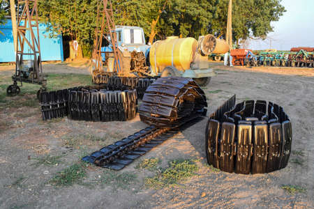 Track new Combine. Parts of agricultural machinery. Track prepared for mounting on the harvester.