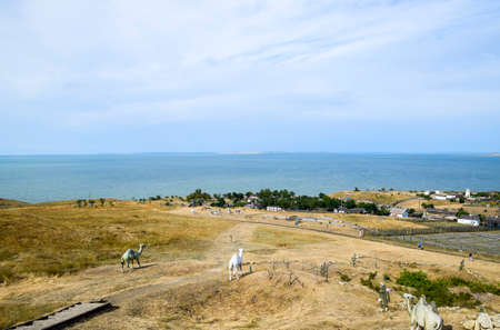 Ataman, Russia - September 26, 2015: The landscape at the Cossack village - a museum Ataman. the village and the sea view from the heights of the hill.