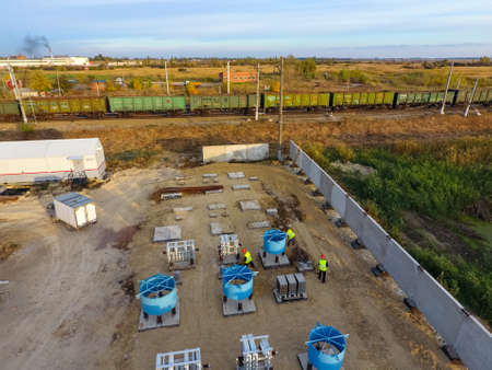 Construction of a transformer substation near the railway Stockfoto