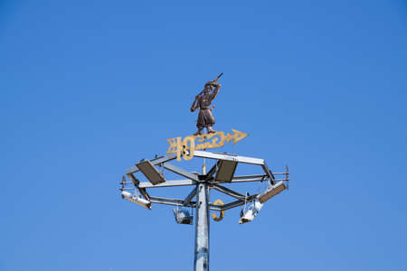 Cossack with a gun on the weather vane. art vane