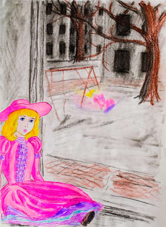 A doll in a pink dress sits by the window while her mistress walks outside in the courtyard. Sadness and longing in the hand-drawn picture.