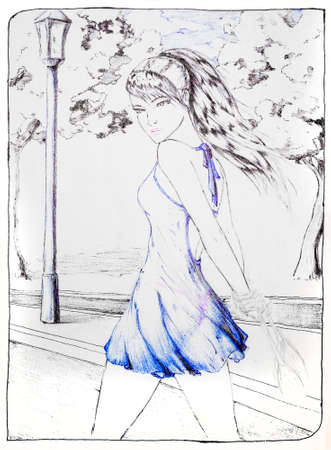 A drawing of a girl walking along a sidewalk in a park with a handbag. Walk a beautiful girl in a dress. Stock Photo