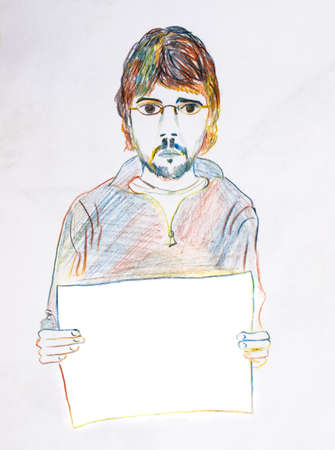 A man with a beard and glasses holding a blank poster. Place for the inscription on the poster. Pencil drawing.