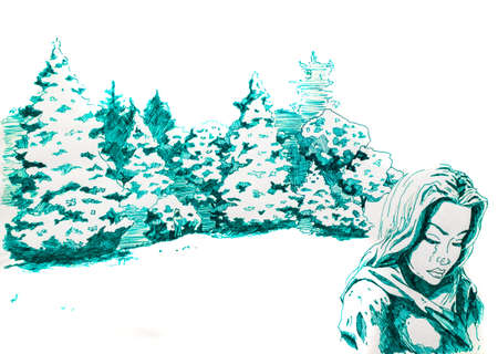 A woman with sadness and tears walks past the fir forest. Green ink drawing