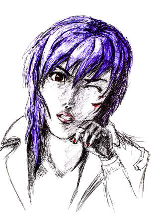 Figure ballpoint pen, emo goth with a scratched face. Nasty anime style. Imagens