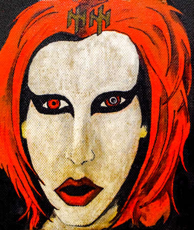 Hand-drawn portrait of a rock star. Red hair and white punk rocker face.