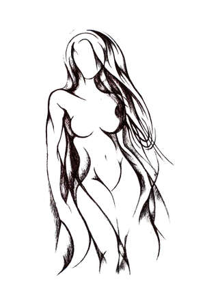 Silhouette of a beautiful naked girl with long hair, wide hips and beautiful tits. Drawing with black pencil on white paper.