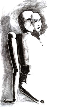 pencil drawing, mannequin sits and puts on a mask with a mans face Banque d'images - 114078229
