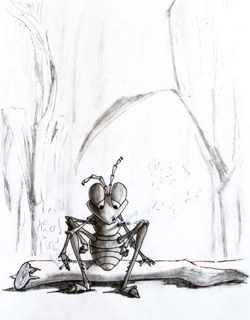 Pencil drawing. A tired ant sat on a log and smokes. Senseless life Stock Photo