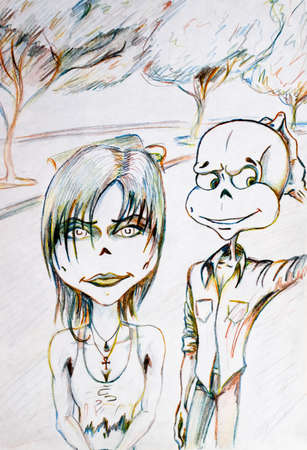 Umorik went on a date with a girl and walks through the park. Drawing with colored pencils. Stock Photo