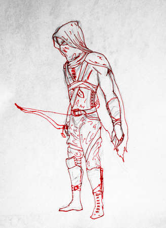 Archer warrior in mask. Figure red pen. The ancient vestments of the warrior archer. Banco de Imagens
