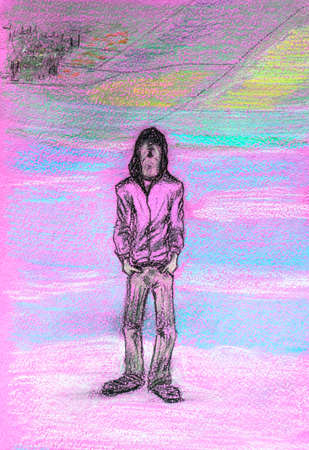 A man in jeans and a hooded jacket stands with his hands in his pockets and looks up. Drawing with pencils and pen. Stock Photo