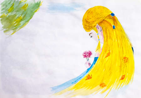 A girl with long blond hair admires a rose flower. Autumn in the hair, leaves of leaf fall. Drawing watercolor