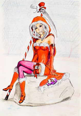 Dangerous snow maiden with scythe of death and skulls. Granddaughter of Santa Claus. New Year at Satanists. Pencil drawing. Banque d'images - 114078313