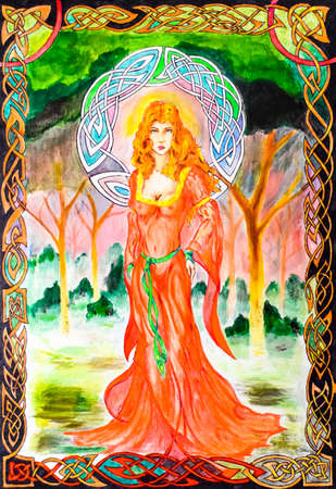 Woman in a translucent red dress in the forest. Picture in frame, watercolor paint