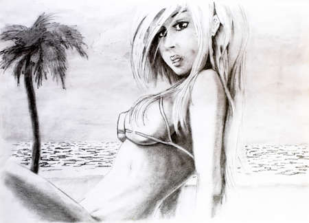 Woman with big breasts in a bikini on the sea beach. Big tits in a bikini. Pencil drawing of a girl on the beach. Foto de archivo