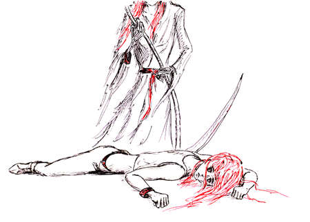 Death with a scythe over the dead. Death came to pick up the victim. Figure ballpoint pens.