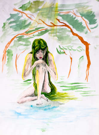 naked girl with long green hair sits under a tree in the sun. Watercolor drawing