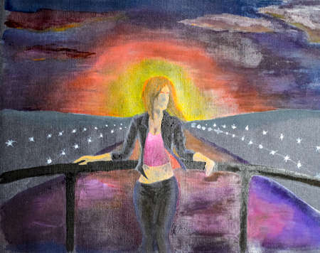 The girl at the Meryl bridge across the water channel. Sunset over the city river. Drawing watercolor on black paper. Banco de Imagens