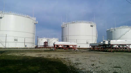 Storage tanks for petroleum products. Equipment refinery. 写真素材