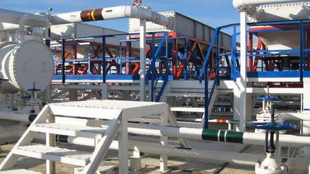 Steel service platform and stairs. Equipment refinery.