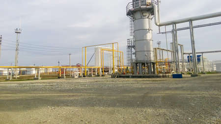 Furnace for heating oil at the refinery. The equipment for oil refining.