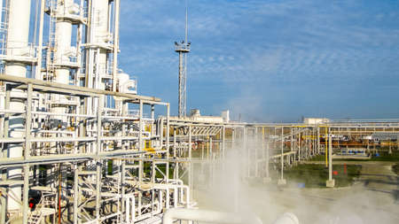 The oil refinery. Equipment for primary oil refining. 스톡 콘텐츠