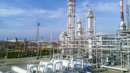 The oil refinery. Equipment for primary oil refining. Stock Photo