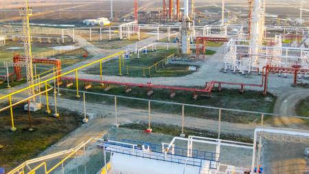 The oil refinery. Equipment for primary oil refining. Archivio Fotografico