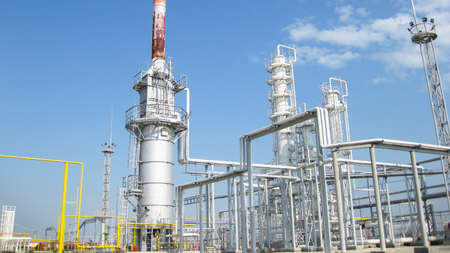 The oil refinery. Equipment for primary oil refining. Stockfoto