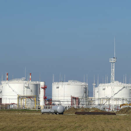 Storage tanks for petroleum products. Equipment refinery. Stock Photo