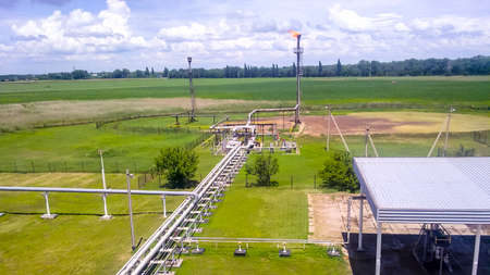 Flare for flaring associated gas. The end point of the pressure relief system on the oil facility Stok Fotoğraf
